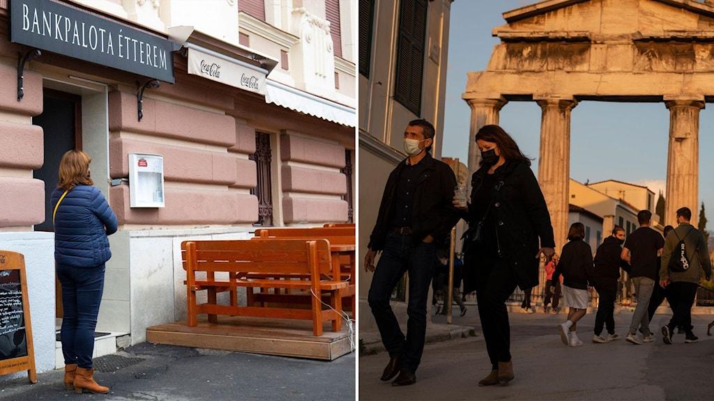 kö utanför restaurang i Ungern och folk som går på gata i Grekland