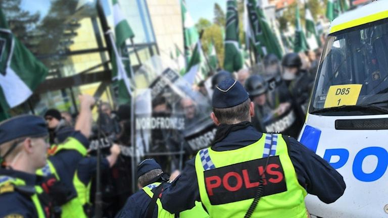 Nordiska motståndsrörelsens (NMR) demonstration i centrala Göteborg den 30 september 2017.
