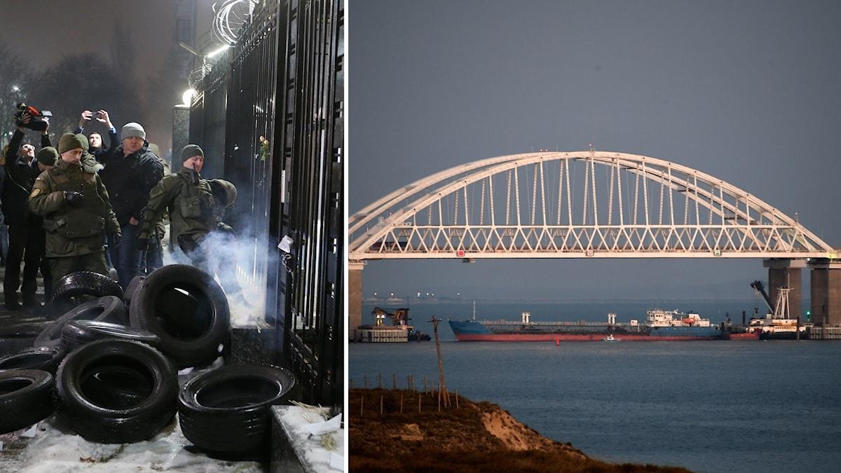 Ryska styrkor stängde sund och bordade marinfartyg.