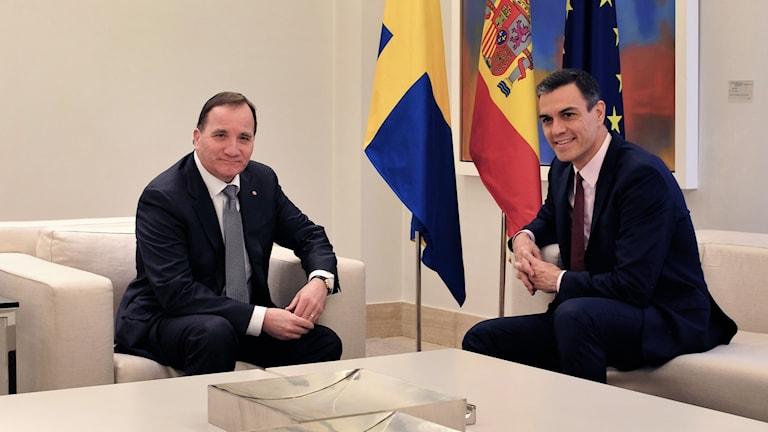 Sveriges statsminister Stefan Löfven och Spaniens premiärminister Pedro Sanchez under fredagens möte.