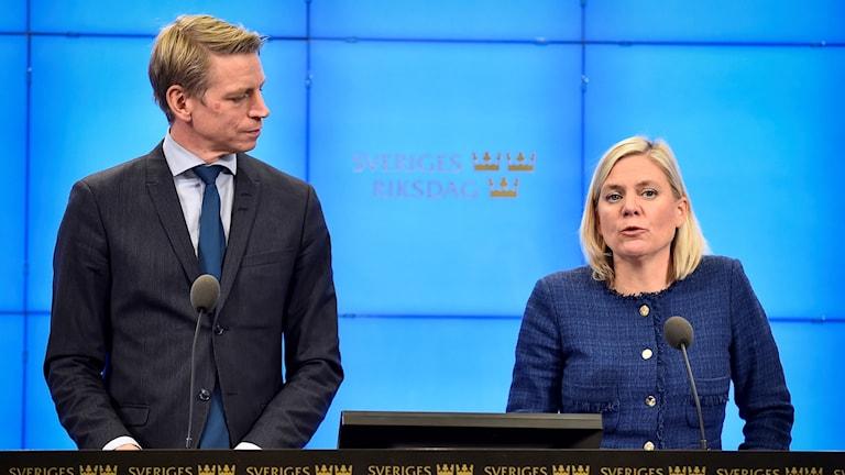 Finansminister Magdalena Andersson och biträdande finansminister Per Bolund.