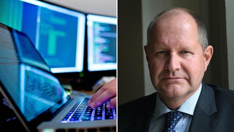 Dator och skärmar och man i kostym.