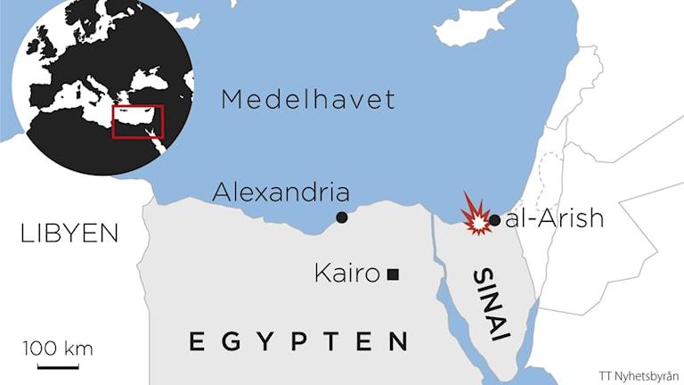 Bild av en karta över Egypten där attacken på Sinai är markerad.