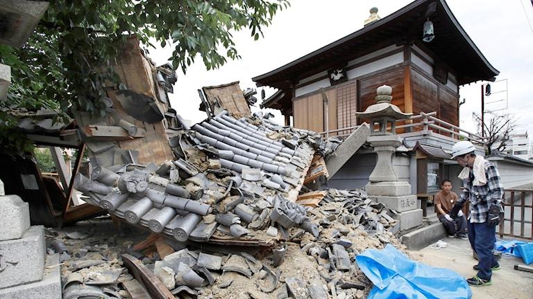 Efter jordbävningen. Foto: Yosuke Mizuno/TT.