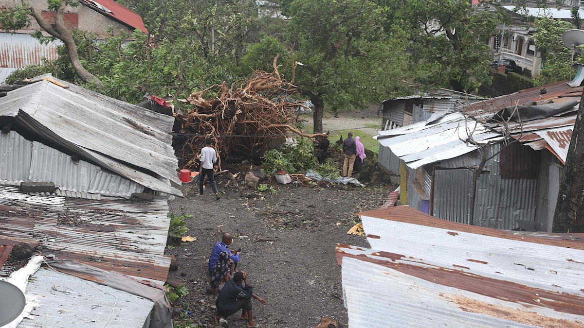 Skador efter cyklon Kenneth i Moçambique.