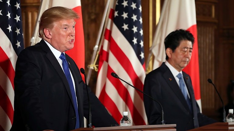 Usas president donald trump och japans premiärminister Shinzo Abe