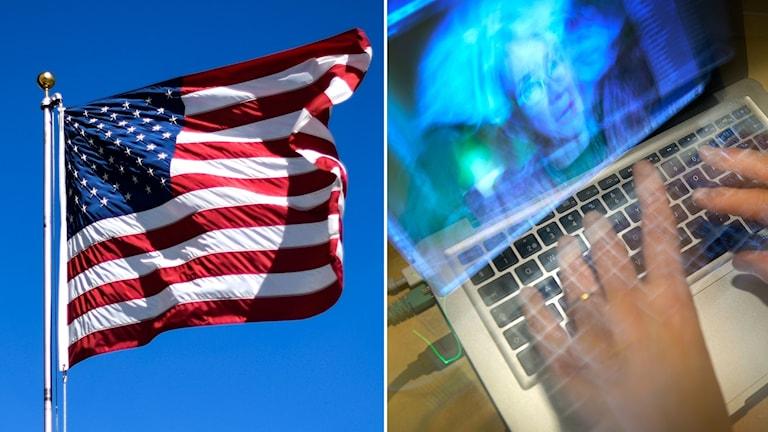 Tvådelad bild: USA:s flagga vajar mot blå himmel och fingrar knappar på laptop