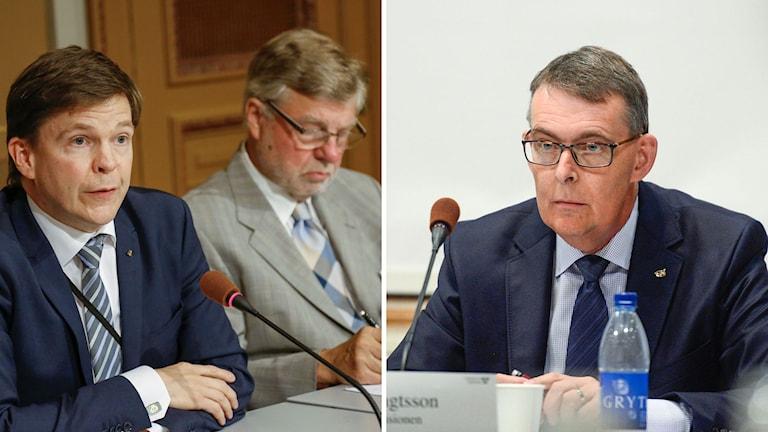 KU:s ordförande Andreas Norlén och utskottets vice ordförande Björn von Sydow. Till höger den avgående riksrevisorn Ulf Bengtsson.