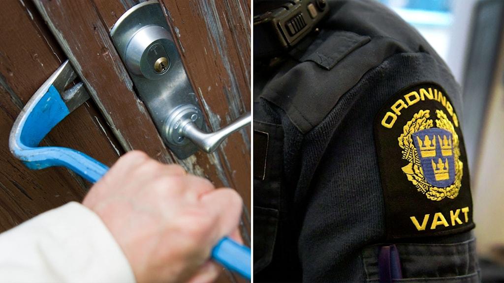 Bild på kofot och ytterdörr och bild på en ordningsvakt.