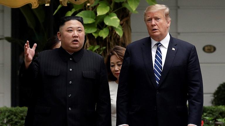 USA:s president Donald Trump pch Nordkoreas ledare Kim Jong Un (arkivbild). Foto: Evan Vucci/TT.