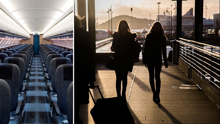 Tvådelad bild: tomma stolar på ett flygplan och två tjejer som går på en flygplats