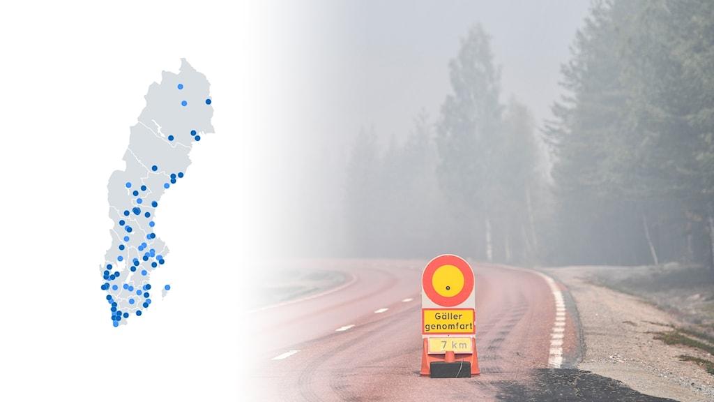 Bildkollage med grafik på VMA-larm under 2017 och 2018 och en väg under sommarens skogsbränder.