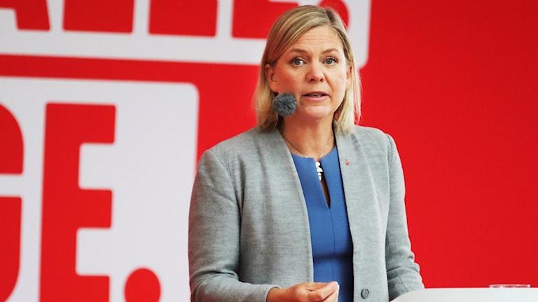 Finansminister Magdalena Andersson (S) talar under Socialdemokraternas dag på politikerveckan i Almedalen.