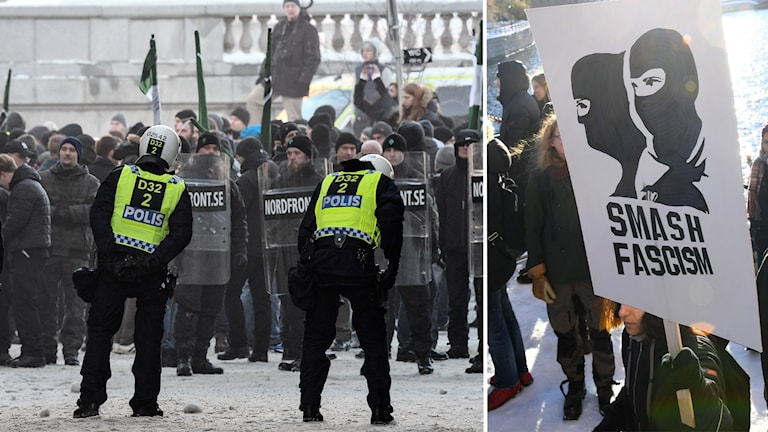 Delad bild: Nordiska motståndsrörelsen demonstrerar i Stockholm samt motdemonstranter med plakat.