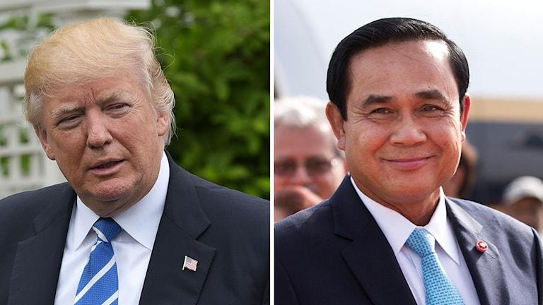 US-president Donald Trump, Thailands premiärminister Prayut Chan-o-cha. Foto: Saurab Das/Mandel Ngan/TT. Montage: Sveriges Radio.