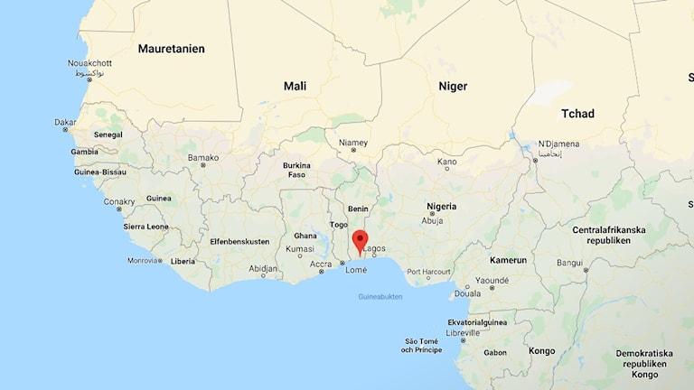 Karta över Afrika med Benin utmärkt.