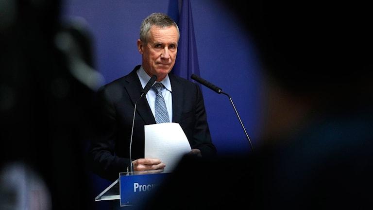 Franske statsåklagaren Francois Molins under presskonferens 18 april 2017 angående att två män som misstänks för att ha planerat en terrorattack gripits i Marseille.