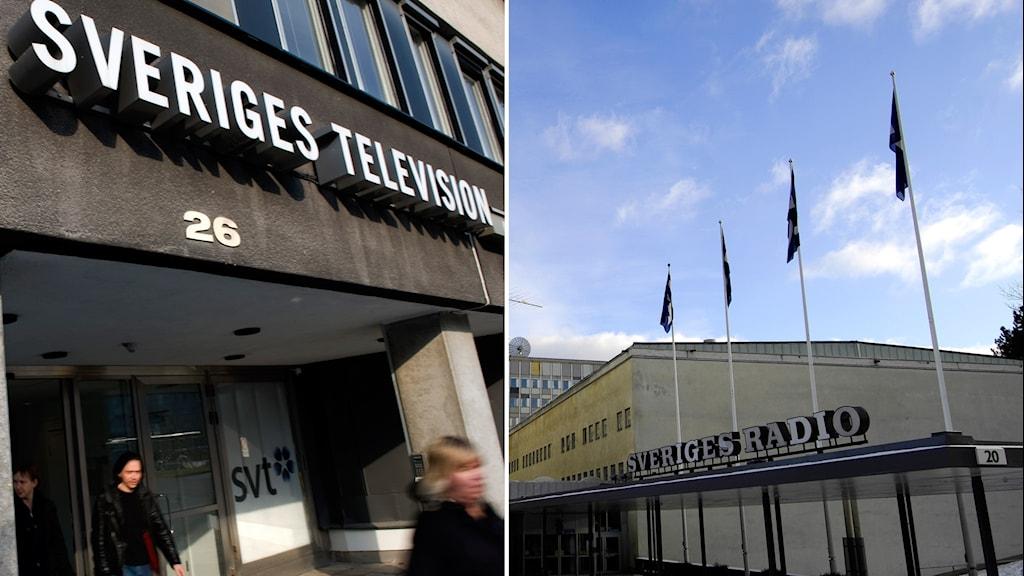 Utanför SVT i Stockholm och SR i Stockholm.