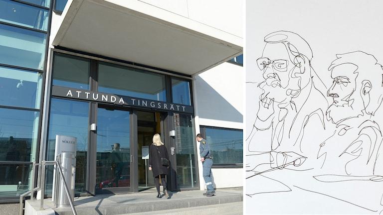 Bildsplit på Attunda Tingsrätt och en skiss på den misstänkte mannen.