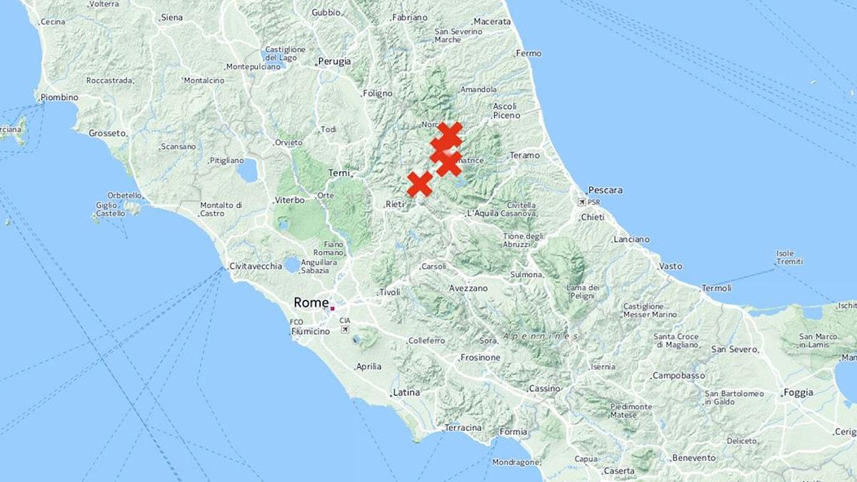Accumoli, Amatrice, Posta och Arquata del Tronto är fyra drabbade bergsbyar.