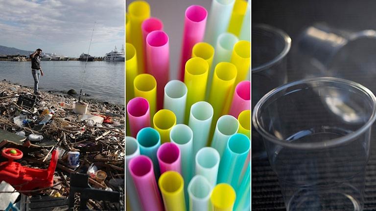 Tredelad bild: strand med plastskräp, sugrör och engångsglas i plast.
