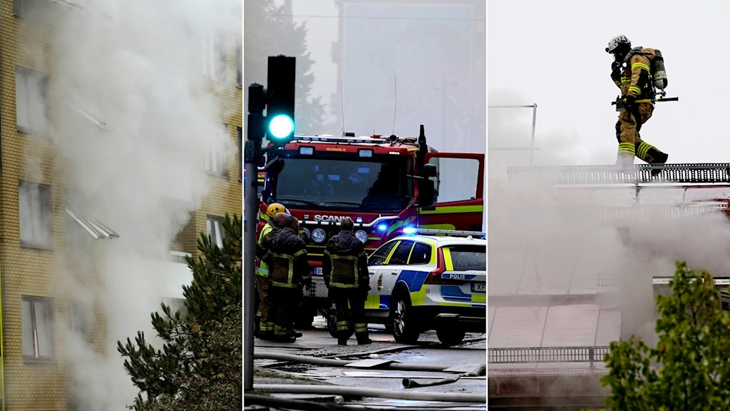 Det ryker från ett hus, polis och räddningstjänst och bilar och en bild på en brandman på ett tak.