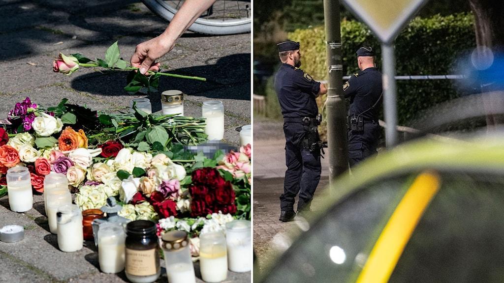 En person lägger ned en ros i en hög av blommor.