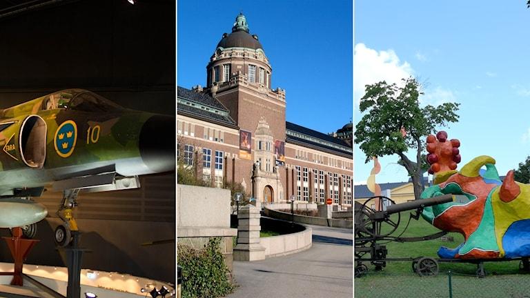 Tredelad bild: flygplan på museum, Naturhistoriska riksmuseets framsida, färgglada skulpturer utanför Moderna museet.