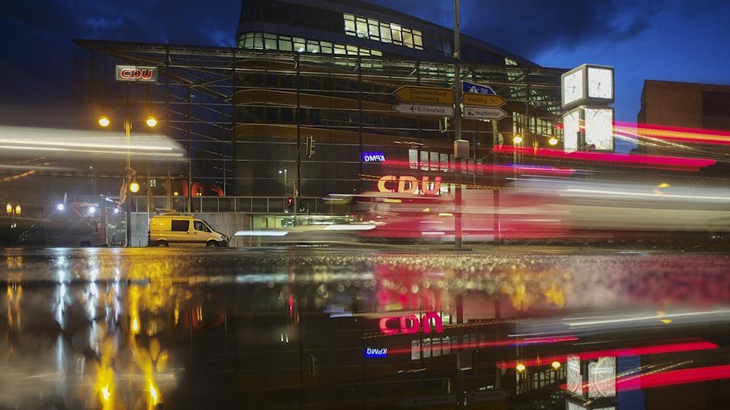 CDU:s högkvarter i Berlin på söndagskvällen