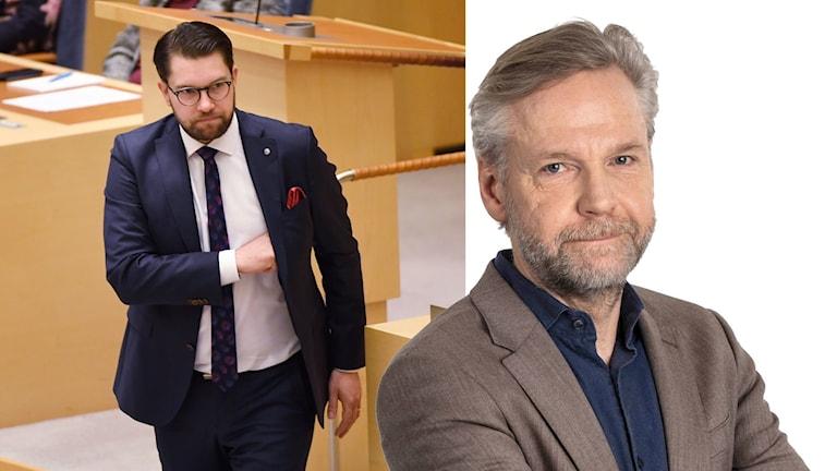 Tomas Ramberg, Ekots politiske kommentator, och Jimmie Åkesson, partiledare Sverigedemokraterna
