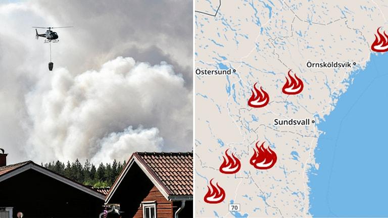 En helikopter i släckningsarbete samt en karta med platserna för bränderna utmärkta.
