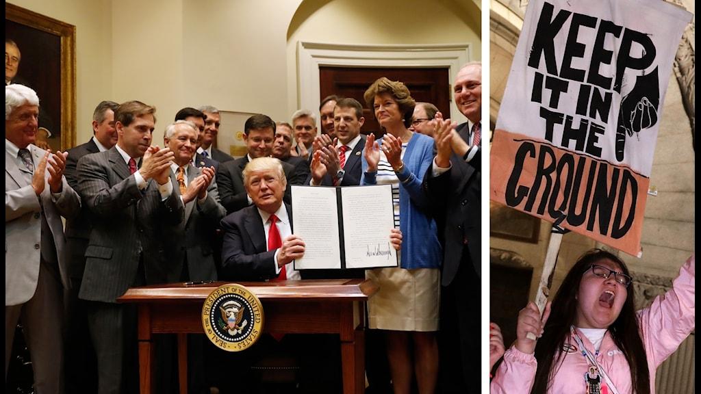 Trump skriver under presidentorder som väntas leda till protester