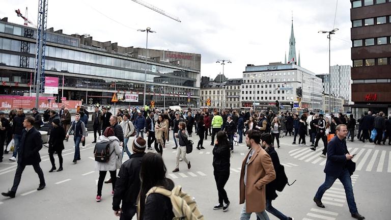 Folkmassa Stockholm city