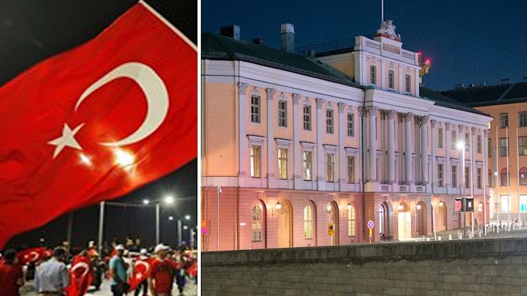 Turkiska flaggan och Utrikesdepartementet i Stockholm. Foto: Emrah Gurel/Fredrik Sandberg/TT.