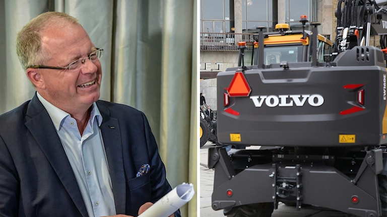 Volvos vd Martin Lundstedt, Volvo lastbil. Foto: TT. Montage: Sveriges Radio.