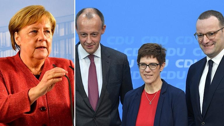De vill ta över efter Merkel. Från vänster till höger: Friedrich Merz, Annegret Kramp-Karrenbauer och Jens Spahn