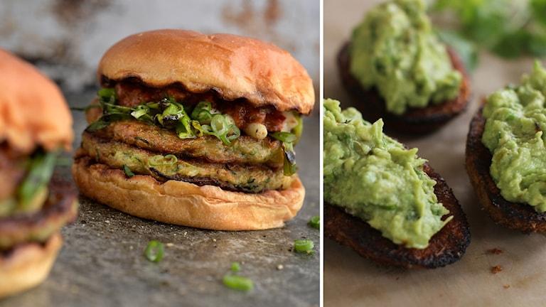 Vegetariska hamburgare och guacamole.