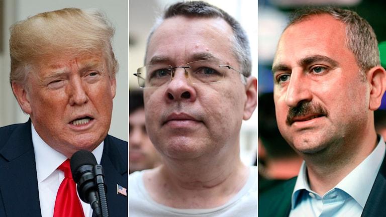 Donald Trump , pastorn Andrew Brunson och Turkiets justitieminister Abdülhamit Gül.