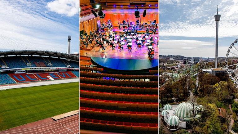fotbollsplan, konsert utan publik och nöjesparken Liseberg