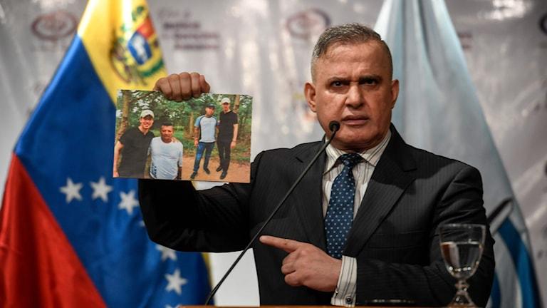 Venezuelas riksåklagare Tarek William Saab under en presskonferens i Caracas 13 september 2019, angående påstådda kopplingar mellan oppositionsledaren Juan Guaido och colombianska paramilitära grupper i Venezuela.