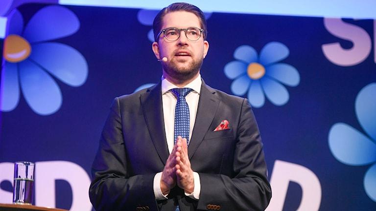 Sverigedemokraternas partiledare Jimmie Åkesson under SD:s valkonferens