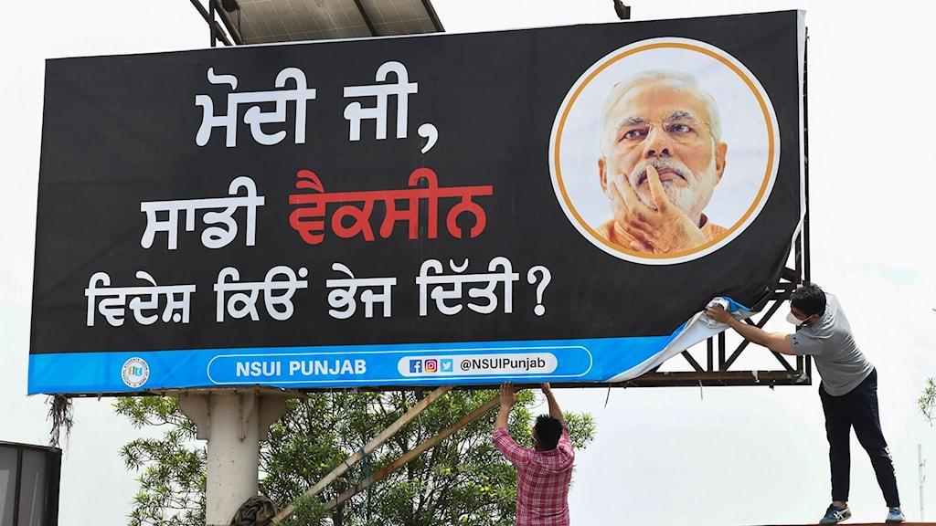 Två personer sätter upp ett stort annonsplakat med Narendri Modis ansikte.
