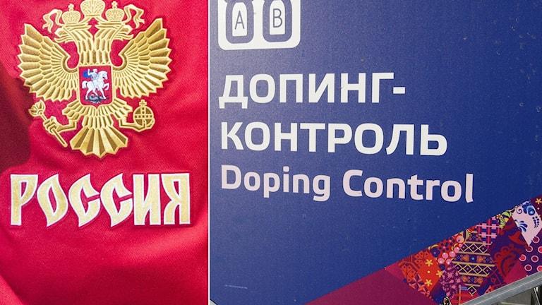 Emblem på rysk ishockeytröja och dopningskontroll-skylt.