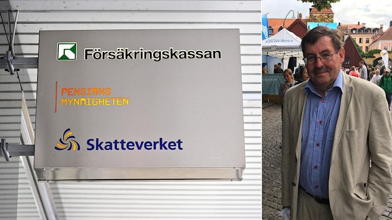 Skylt med Försäkringskassan, Pensionsmyndigheten och Skatteverkets loggor och Lars-Erik Lövdén.