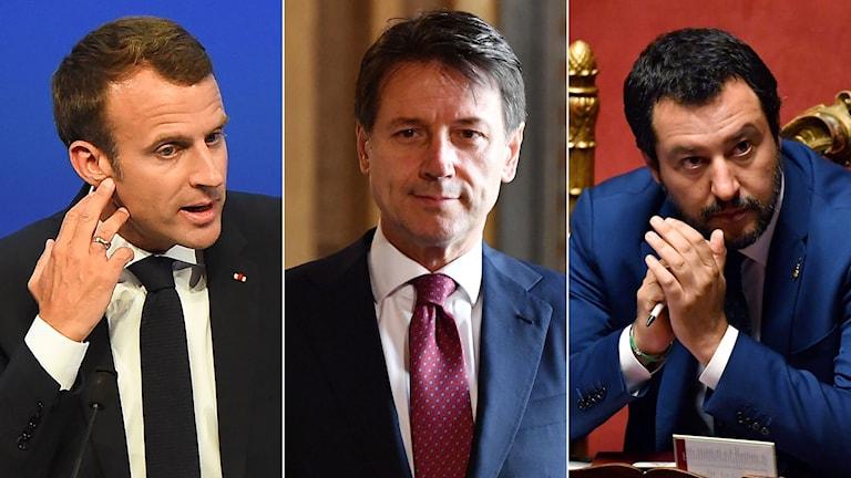 Frankrikes president Emmanuel Macron, Italiens premiärminister Giuseppe Conte och Italiens inrikesminister Matteo Salvini.