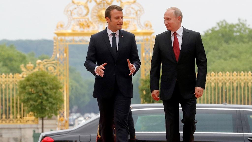 Macron och Putin i Versailles.