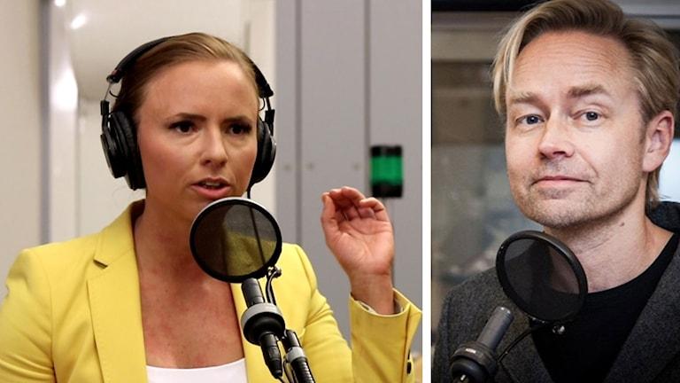 Kollage av Kristdemokraternas Sara Skyttedal och Ekots Fredrik Furtenbach.