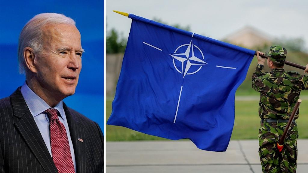 Delad bild: Man framför blå bakgrund och en Natoflagga.