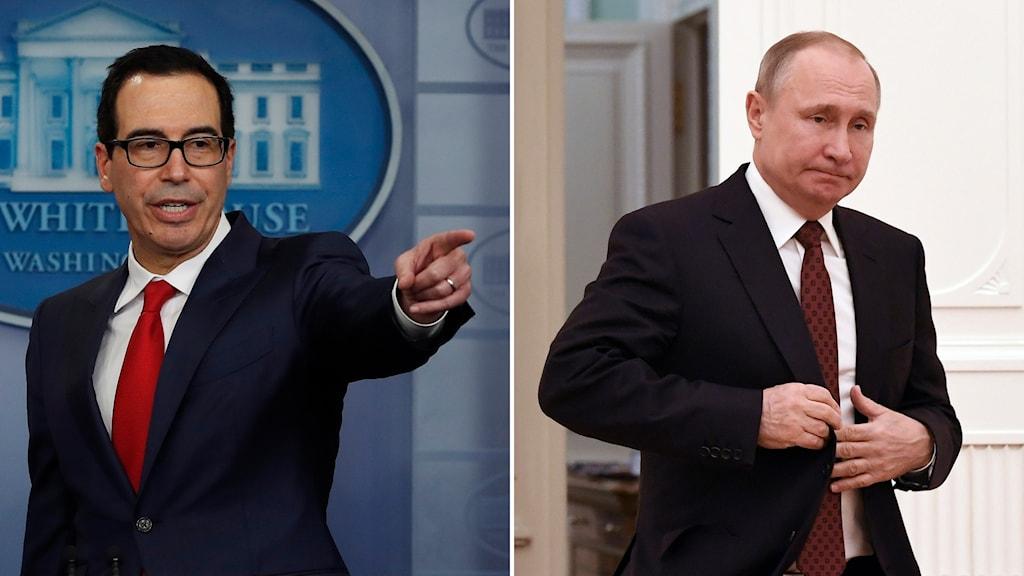 Finansminister Steven Mnuchin och Vladimir Putin.