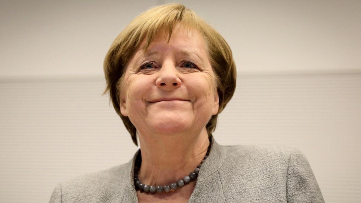 Goda utsikter för förbundskansler Angela Merkel (här: 29 januari). Foto: Kay Nietfeld /TT.